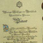 """Logenpatent der Loge """"Zu den ehernen Säulen"""" in Dresden"""