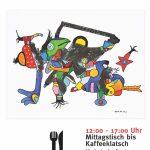 """Plakat zur Otmar-Alt-Ausstellung unter dem Motto """"Kunst + Gaumenschmaus"""""""
